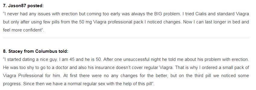 Viagra Professional User Reviews