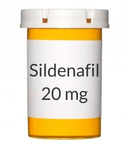 A container of Sildenafil 20mg pills