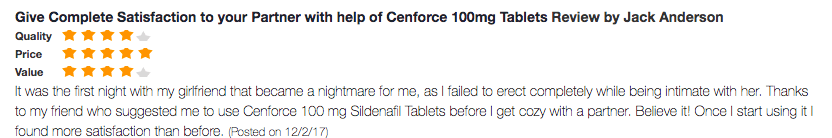 Cenforce 100mg Testimonial